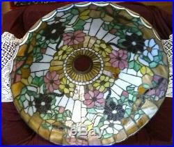 Large Wilkinson Leaded Glass floral Lamp Handel Tiffany Arts & Crafts slag era