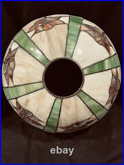 Leaded Lamp, Hampshire Pottery, Slag Glass Shade, Arts Crafts, Handel Lamp Era