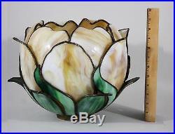 Lrg Antique 19thC Art Nouveau, Shaped Leaded Slag Glass Flower & Leaf Lamp Shade