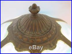 Magnificent C. 1910 Arts And Crafts Bent Panel Slag Glass Lamp