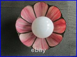 MCM Slag 17 Glass Pink Tulip Chandelier Hanging Lamp Shade Ornate Trim 8 panel