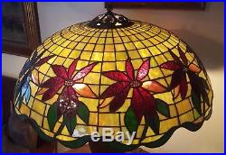 Massive Handel Leaded Slag Stained Glass Poinsettia Lamp