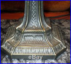 Meyda Tiffany Slag Glass lamp Bronze Filigree Handel Arts & Crafts Style shade