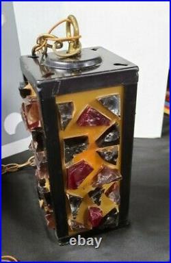 Mid-Century Pendant Chunk Slag Glass Hanging Lamp Swag Lamp