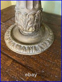 Miller Cast Metal Bronze Slag Glass Table Lamp Art Deco 6 Panel 22H
