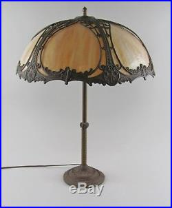 Miller Lamp Co Metal Overlay Slag Glass Bent Panel Candlestick Lamp Double Light