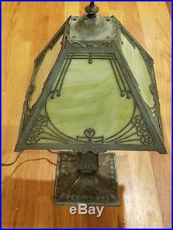 Miller slag glass antique 4 panel lamp