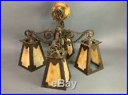 Mission Craftsman Slag Glass Hanging Lamp Pendant Chandelier Arts & Crafts