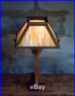 Mission Oak Arts and Crafts Table Lamp, Caramel Slag Glass Light Shade 23