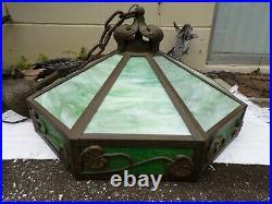 Mission art crafts lamp slag glass tiffany handel roycroft stickley dirk van urp