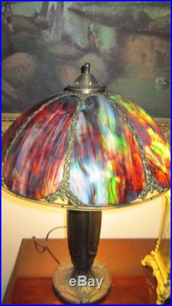 Multi Color Slag Glass Arts Crafts Table Lamp