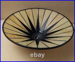 NWOT Quoizel Gotham Art Deco Stained Slag Glass Lamp Shade 19 Dia Starburst