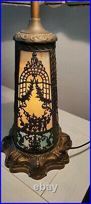 N. W. Art Shade Co. Chicago Slag Glass Table Lamp Antique Circa 1920s
