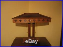 New Price! Prairie Dbl Pedestal Mission Oak Slag Glass Lamp C. 1910 Petersen Art
