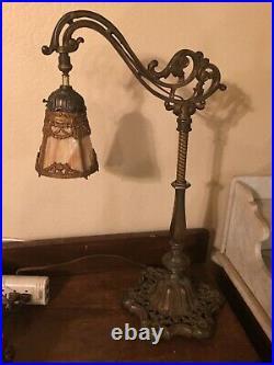 Nice Antique Art Nouveau Bridge Arm Lamp with French Revival Slag Glass Shade