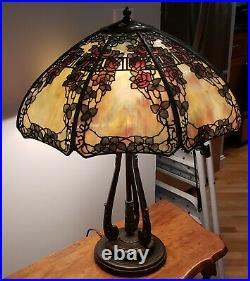 ORIGINAL Handel Red Rose Trellis Leaded Slag Stained Glass Overlay Table Lamp