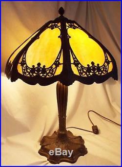 Old Antique 8 Panel CARAMEL BENT SLAG GLASS Electric TABLE LAMP -WORKS