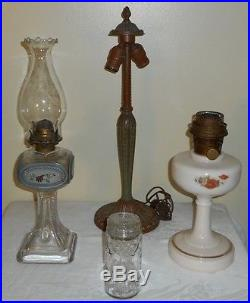 Old Miller Electric Lamp Light Base Slag Glass Shade Double 1907 Bryant Sockets