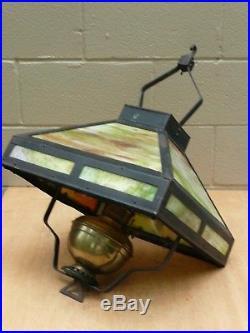 Original Antique Slag Stained Glass Mission Style Hanging Kerosene Lamp