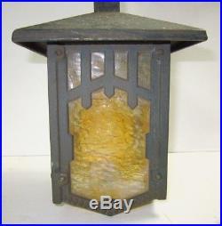 Original Arts & Crafts Herwig Cast Slag Glass Hanging Porch Lamp Light