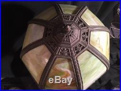 Original Royal Art Co Multi Slag Glass Handel Tiffany Bradley and Hubbard Lamp