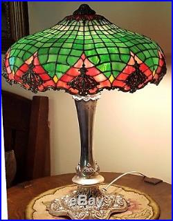 Ornate Antique Old Victorian Silver Gorham Leaded Slag Stained Glass Table Lamp