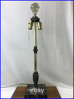 Ornate Brass Marble Table Lamp FOR Stained Slag Glass Shade Tiffany, Handel Styl