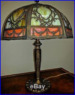Ornate Miller Window Pane 16 Panel Slag Glass Lamp