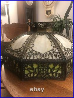 Outstanding Carmel N Green Slag Glass Hanging Shade