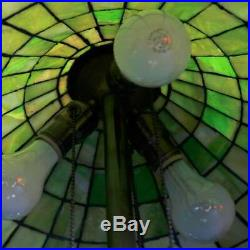 Oversized Antique Arts & Crafts Williamson School Leaded Slag Glass Lamp