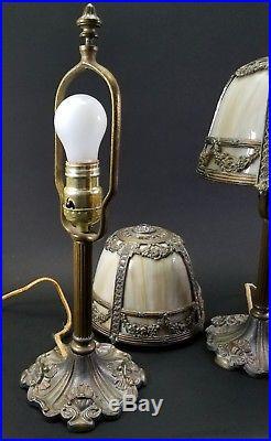 PAIR of ANTIQUE MILLER CARAMEL BENT SLAG LEADED GLASS BOUDOIR TABLE LAMPS