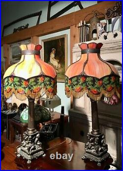 Pair ANTIQUE CHERUB TABLE LAMPS with RED Slag Glass Shades Bead Fringe