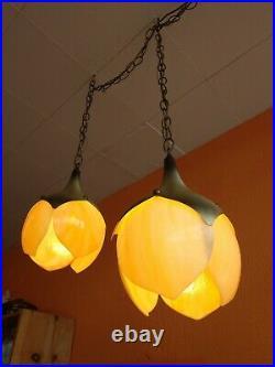 Pair Mid Century Slag Carmel Glass Tulip Lamp Shades Hanging Ceiling Lights