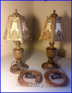 Pair Ornate Antique Carmel Slag Glass Boudoir Lamps 1920s
