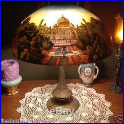 Phoenix Reverse/obverse painted lamp-Handel Tiffany art glass slag arts crafts