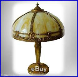 Pittsburgh art noveau lamp with bent slag glass shade
