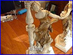 Pr Vintage Torchiere Slag Glass Gilded Figural Neo-Classical Table Lamps