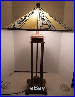 Quoizel Tiffany Mission Arts & Craft Stain Slag Glass Style Table Desk Lamp
