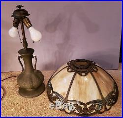 RARE Charles Parker Leaded Slag Stained Glass Table Lamp Handel Tiffany Era