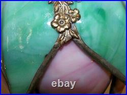 RARE Double Tulip Antique Bent Slag Glass Lamp Shade #1 of 2