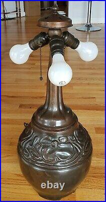 RARE LARGE Handel Leaded Slag Stained Glass Arts & Crafts Poppy Form Lamp Base