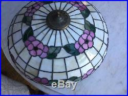 RARE Lamb Brothers Co. Chicago, Slag Stain Glass Table Lamp