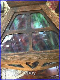 RARE- W. B. Brown Co Red, Gold Slag Glass Arts & Crafts/Mission Lamp early 1900's