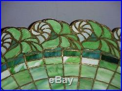 R. Williamson Nautilus Leaded Slag Stained Glass Handel Duffner Tiffany Era Lamp
