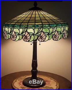 R. Williamson Nautilus Shell Leaded Slag Stained Glass Duffner Tiffany Era Lamp