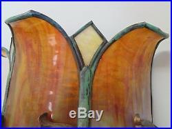 Rare Antique Arts & Crafts Bent Slag Glass Bronze Parrot Sconce Handel Duffner