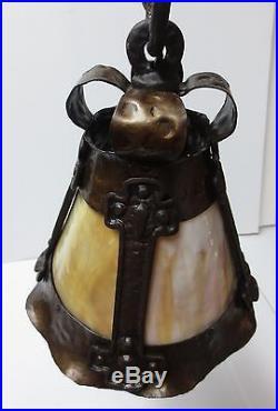 Rare Antique Arts & Crafts Pendant Light With Slag Glass