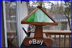 Rare Arts & Crafts Stickley, Mission, Brown Era Oak Stained Slag Glass Desk Lamp