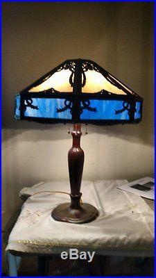 Rare Handel 4 socket with Poulsen (P & H) Slag Glass Lamp, Both Signed