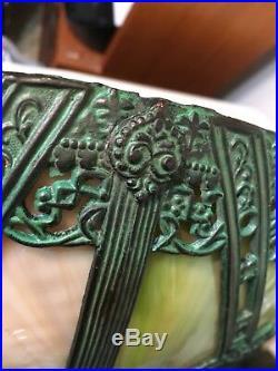 Rare Miller Arts & Crafts Slag Glass Panel Lamp Patinated Bronze Finish